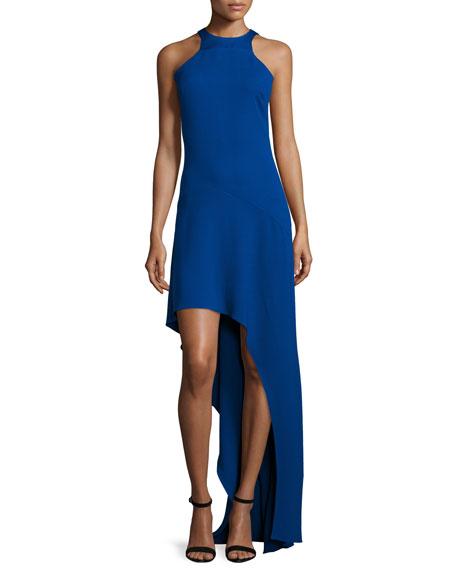 Halston Heritage Sleeveless Jewel-Neck High-Low Gown, Cobalt