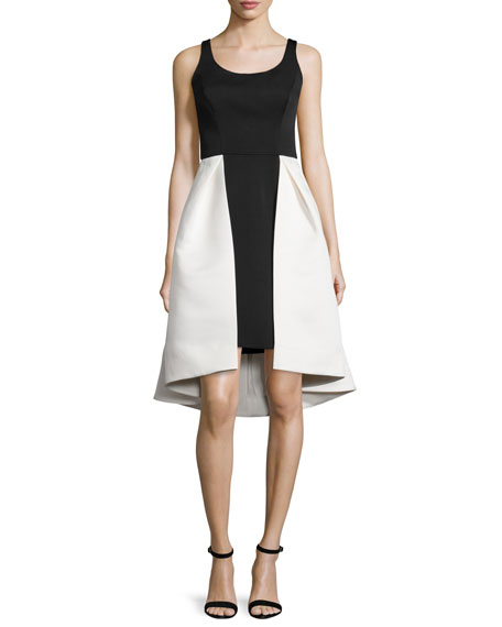 Halston HeritageSleeveless Two-Tone Dress, Eggshell/Black