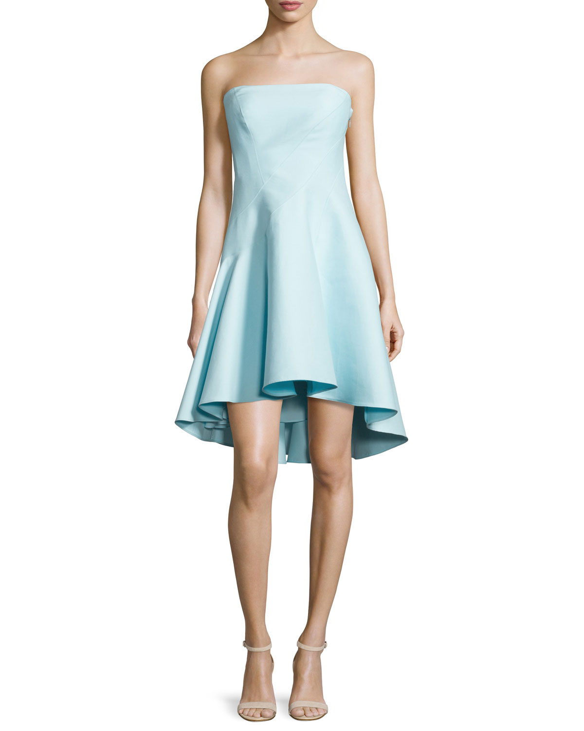 Halston Heritage Strapless Structured Dress, Foam | Neiman ...