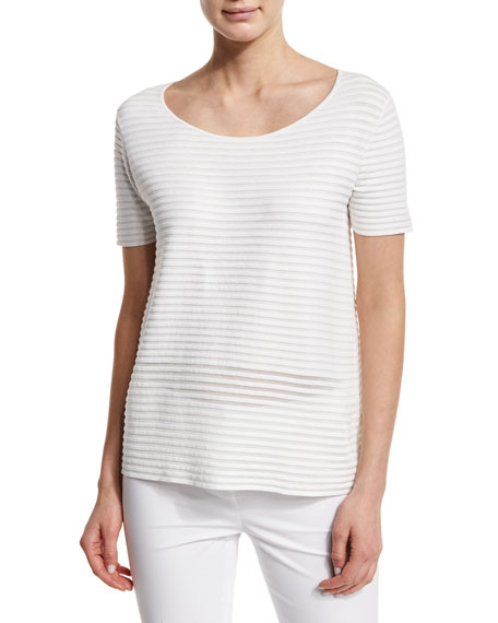 Lafayette 148 New York Shimmer Striped Boxy Sweater