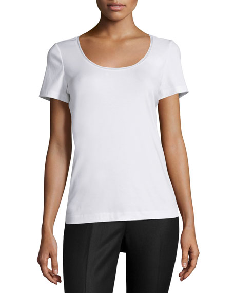 Lafayette 148 New York Scoop-Neck Jersey Top, White
