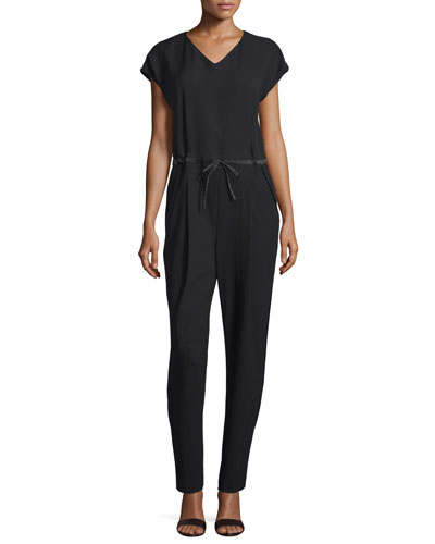 Lafayette 148 New York Columbia Drawstring-Waist Jumpsuit. Black