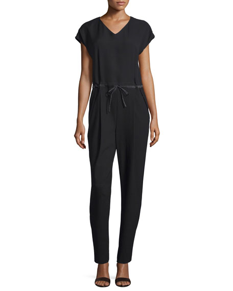 Lafayette 148 New York Columbia Drawstring-Waist Jumpsuit, Black