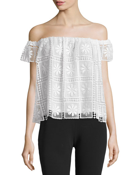 Elizabeth and James Piper Off-The-Shoulder Lace Top, Ivory