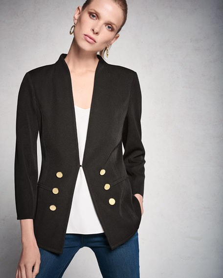 3/4-Sleeve Button-Front Jacket, Petite