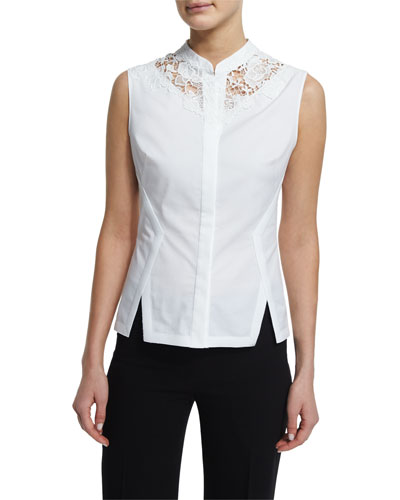 Elie Tahari Nora Sleeveless Lace-Inset Blouse, White