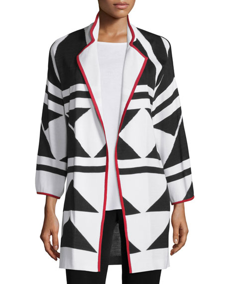 Misook Long Graphic Jacket with Piping, Tricolor, Plus