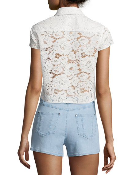 Loni Short-Sleeve Lace Top, Cream