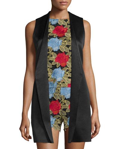 Veronique Satin Cross-Back Vest, Black