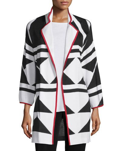Long Graphic Jacket with Piping, Tricolor