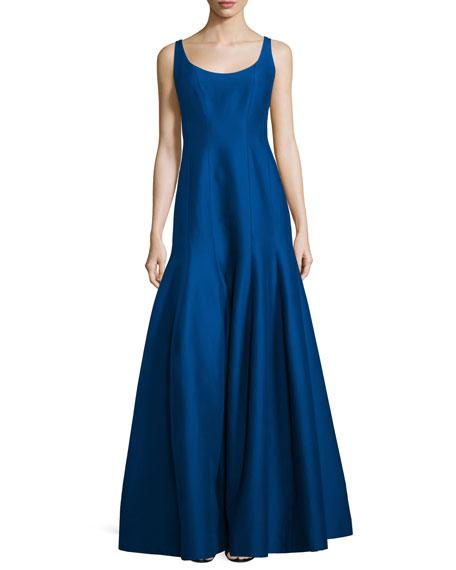 Halston Heritage Tulip-Skirt Sleeveless Gown, Cobalt