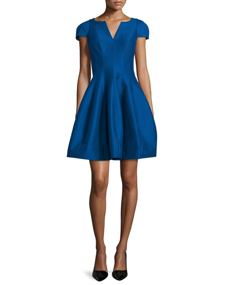 Halston Heritage Tulip-Skirt Split-Neck Party Dress, Cobalt