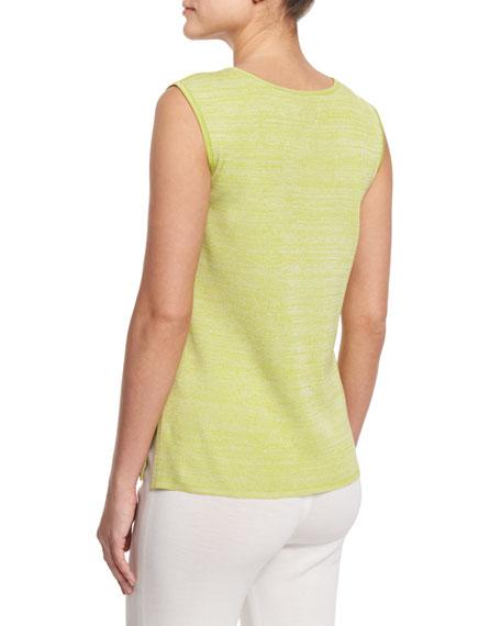 Melange Knit Tank, Sour Apple/White, Petite
