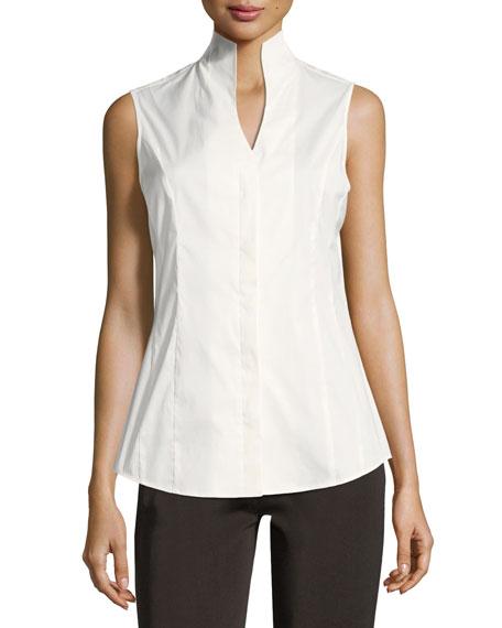 Misook Sleeveless Stretch-Cotton Shirt, Plus Size