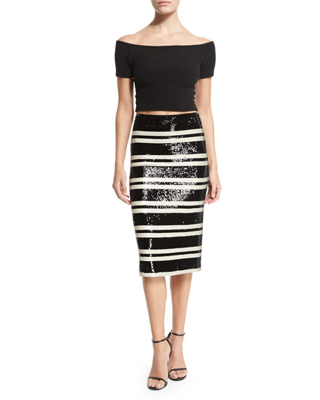 Sequined Striped Pencil Skirt, Black/White