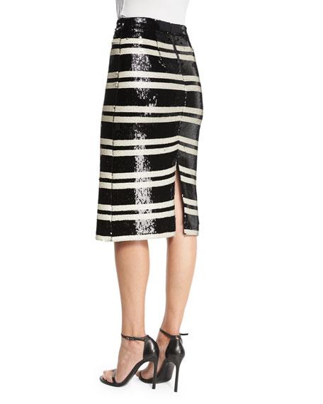 Sequined Striped Pencil Skirt, Black/White