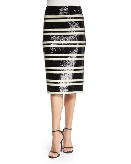 Alice + Olivia Sequined Striped Pencil Skirt, Black/White