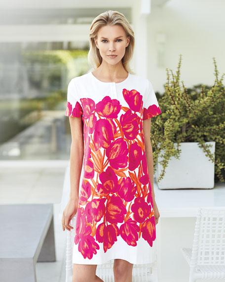 Short-Sleeve Floral-Print Pique Dress