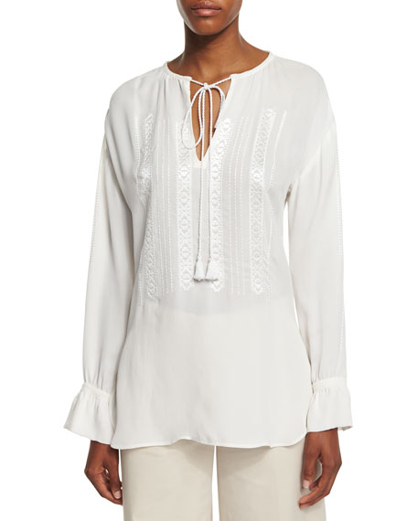 Theory Alrik E Double Georgette Top, Ivory