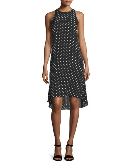 Theory Adlerdale Haze Dot High-Low Dress, Black/Ivory