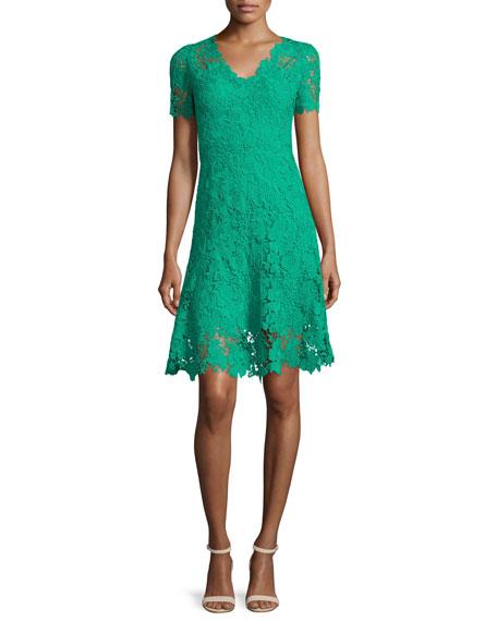 Elie Tahari Samira Short-Sleeve Lace Dress, Palm