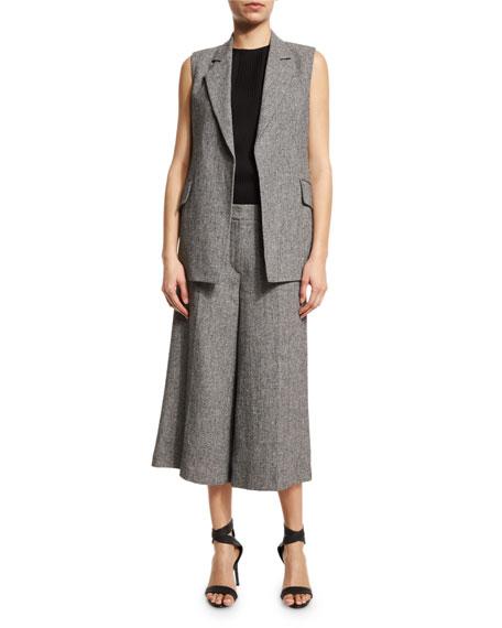 Sedeia Open-Front Long Vest, Black/White