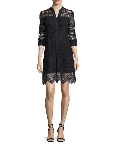 Elie Tahari Whitney Lace-Overlay Shirtdress, Black