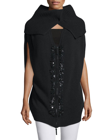 Escada Cape-Sleeve Embellished Sweater Vest, Black