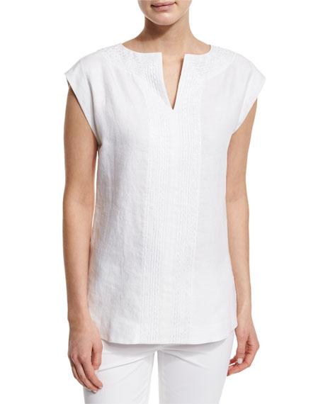 Lafayette 148 New York Joanie Short-Sleeve Linen Blouse