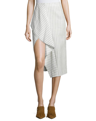 Draped Linen Pinstripe Skirt, Cloud