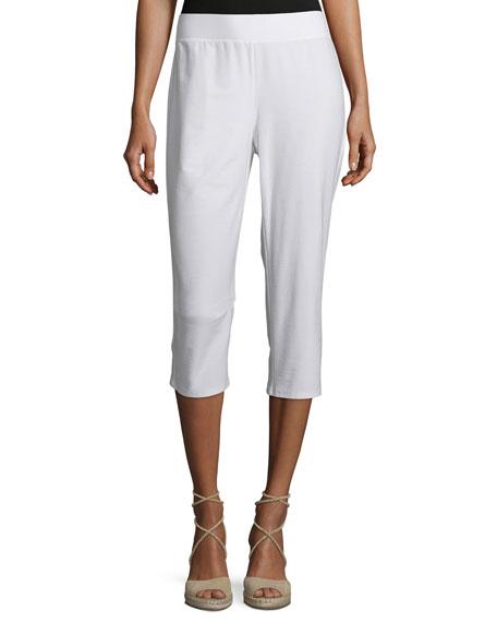 Eileen Fisher Slim Crepe Capri Pants, White