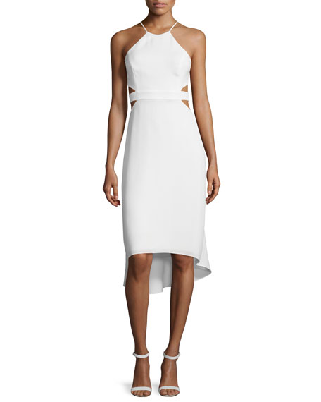 Halston Heritage Halter-Neck Dress W/Cutouts, Bone