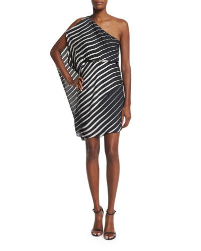 One-Sleeve Striped Caftan Dress, Black/Oyster
