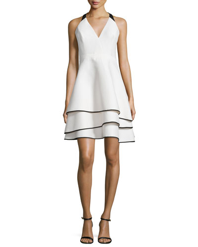 Tiered-Skirt Contrast Crepe Dress