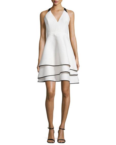 Halston Heritage Tiered-Skirt Contrast Crepe Dress