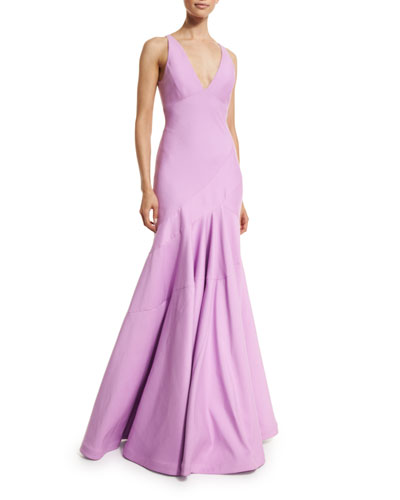 Sleeveless V-Neck Tulip Gown, Tulip