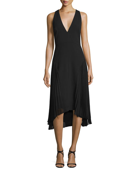 Halston Heritage Sleeveless V-Neck Dress W/ Pleated Sides