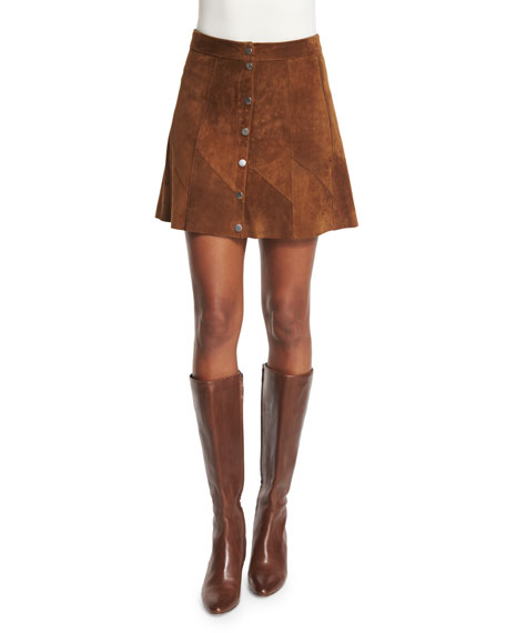 A.L.C. Bogart Suede Button-Front Skirt, Tobacco
