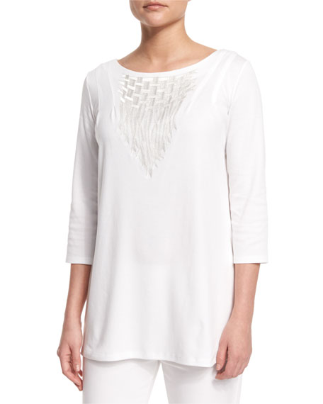 Joan Vass3/4-Sleeve Embroidered Top, White