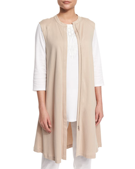 Joan Vass Dramatic Long Zip-Front Vest, 3/4-Sleeve Embroidered