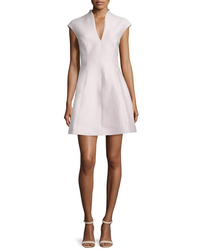 Cap-Sleeve A-line Dress, Barely Pink