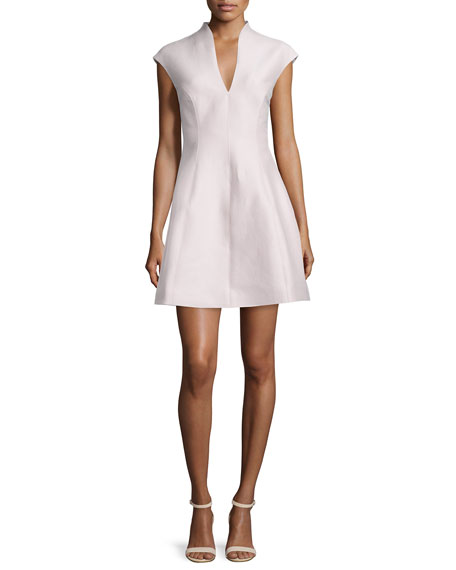 Halston Heritage Cap-Sleeve A-line Dress, Barely Pink