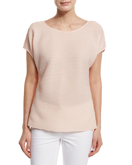 Lafayette 148 New YorkNadette Pleated Boat-Neck Blouse, Aura