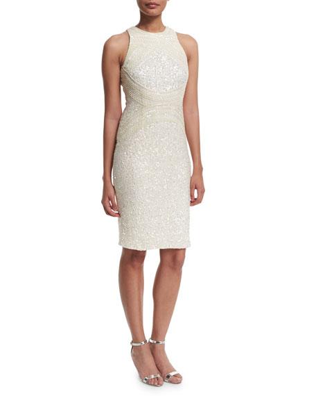 Rachel Gilbert Aubree Embellished Sheath Dress, Ivory