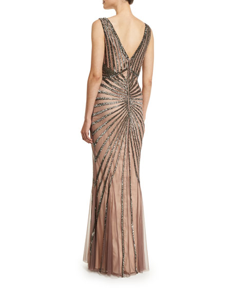 Isla Sleeveless Beaded Tulle Column Gown, Brown