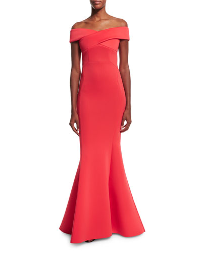 Enico Off-the-Shoulder Knit Mermaid Gown, Raspberry