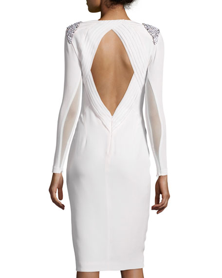 Starla Long-Sleeve Faille Cocktail Dress w/Embellished Epaulets