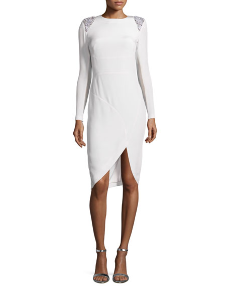 Rachel Gilbert Starla Long-Sleeve Faille Cocktail Dress w/Embellished Epaulets