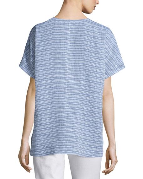 Lulu Short-Sleeve Striped Blouse