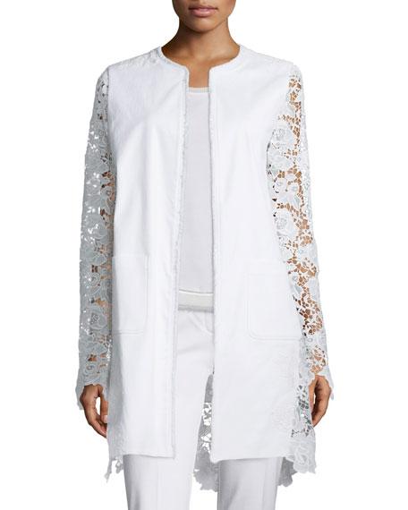 Elie Tahari Canvas & Lace Long Topper Jacket